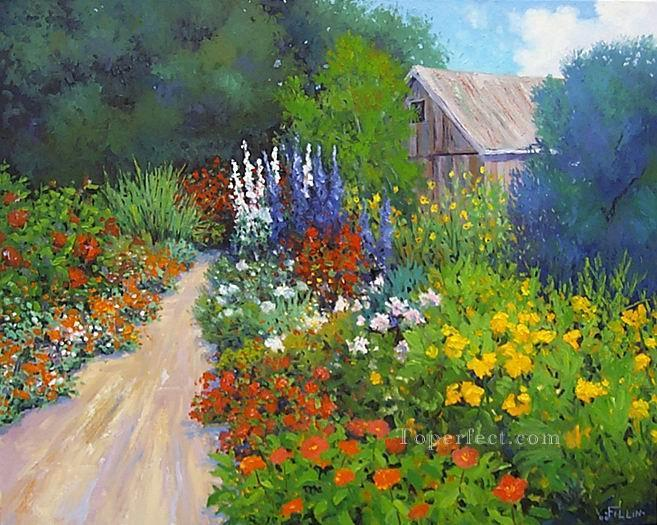 Yxf025be impressionism garden painting in oil for sale for Garden painting images