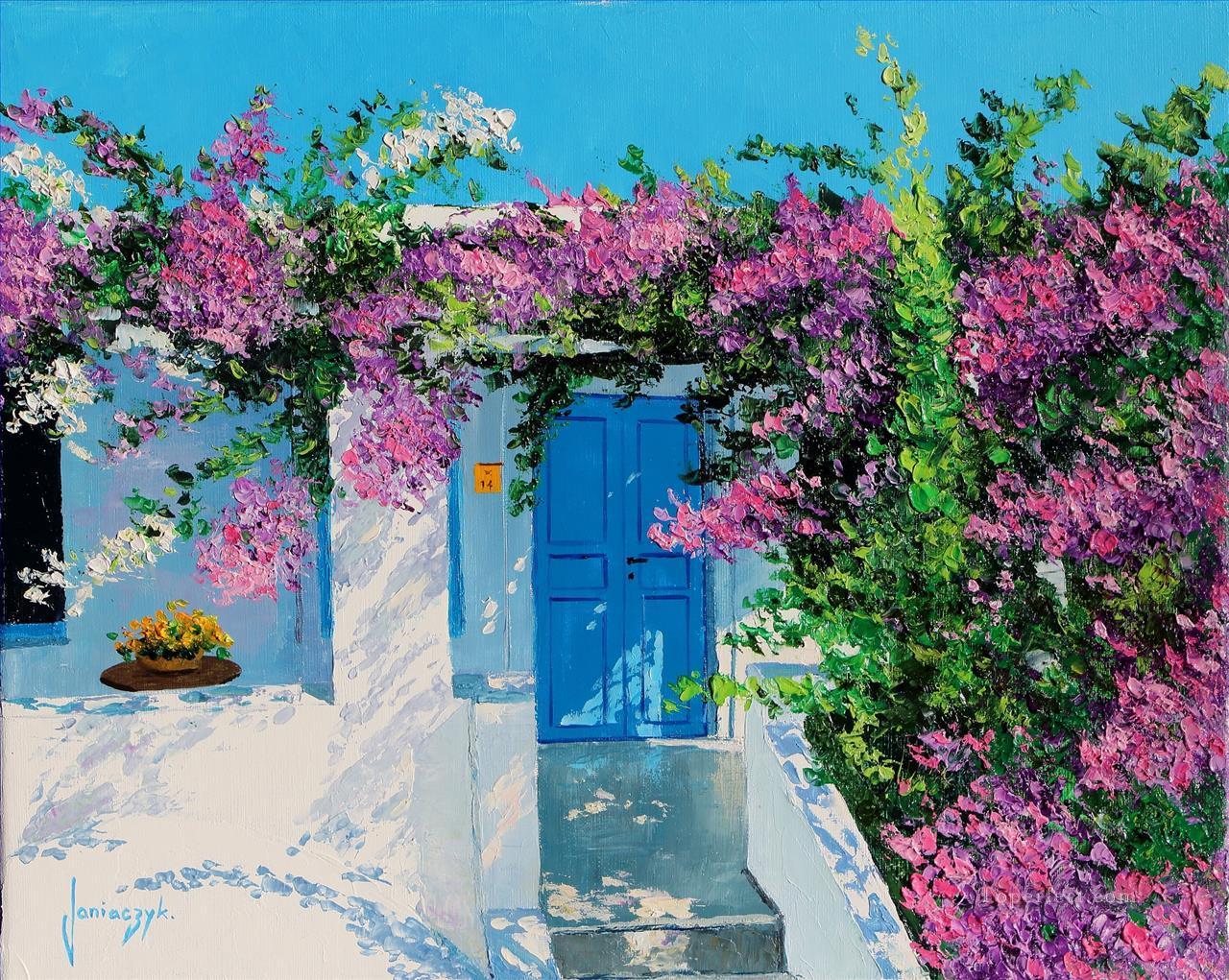 blue door in greece garden painting in oil for sale