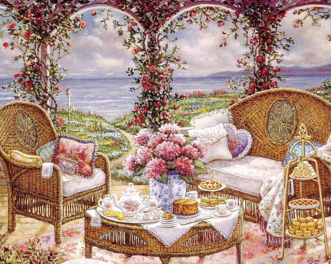 afternoontea garden Painting in Oil for Sale