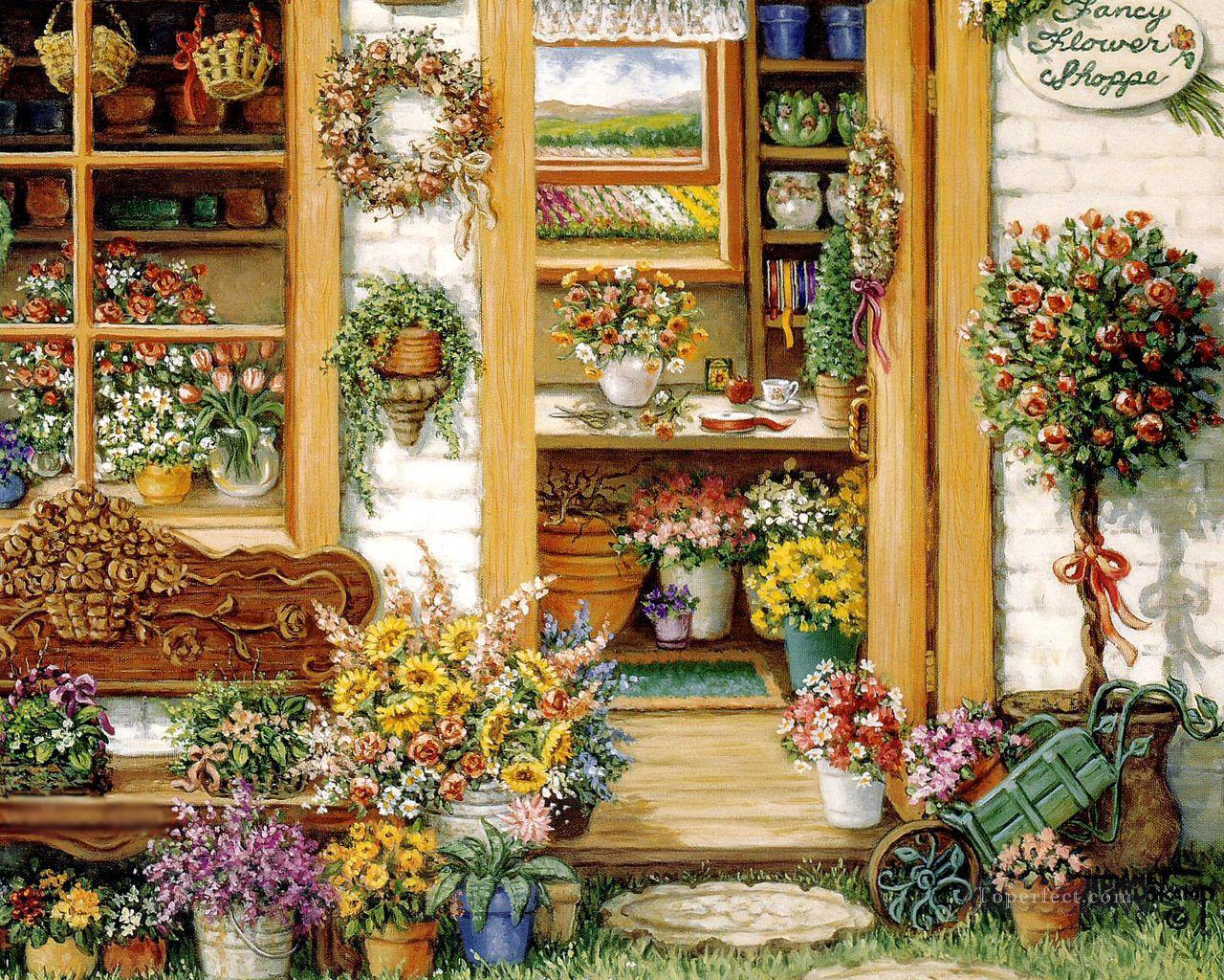 fancy flower shop garden Painting in Oil for Sale