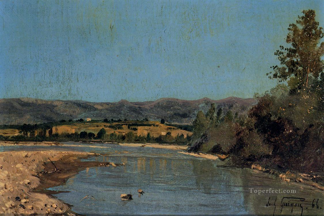 The Banks of the Durance at Puivert scenery Paul Camille Guigou Landscape Oil Paintings