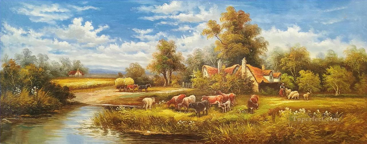 Idyllic Countryside Landscape Farmland Scenery 0 362 lake landscape Oil Paintings