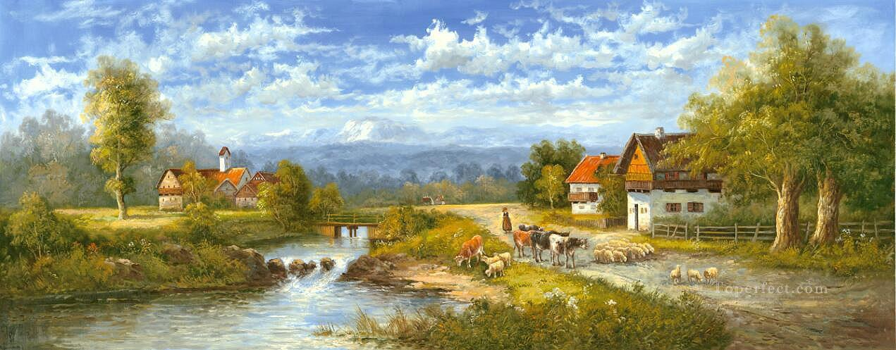 Idyllic Countryside Landscape Farmland Scenery 0 416 lake landscape Oil Paintings