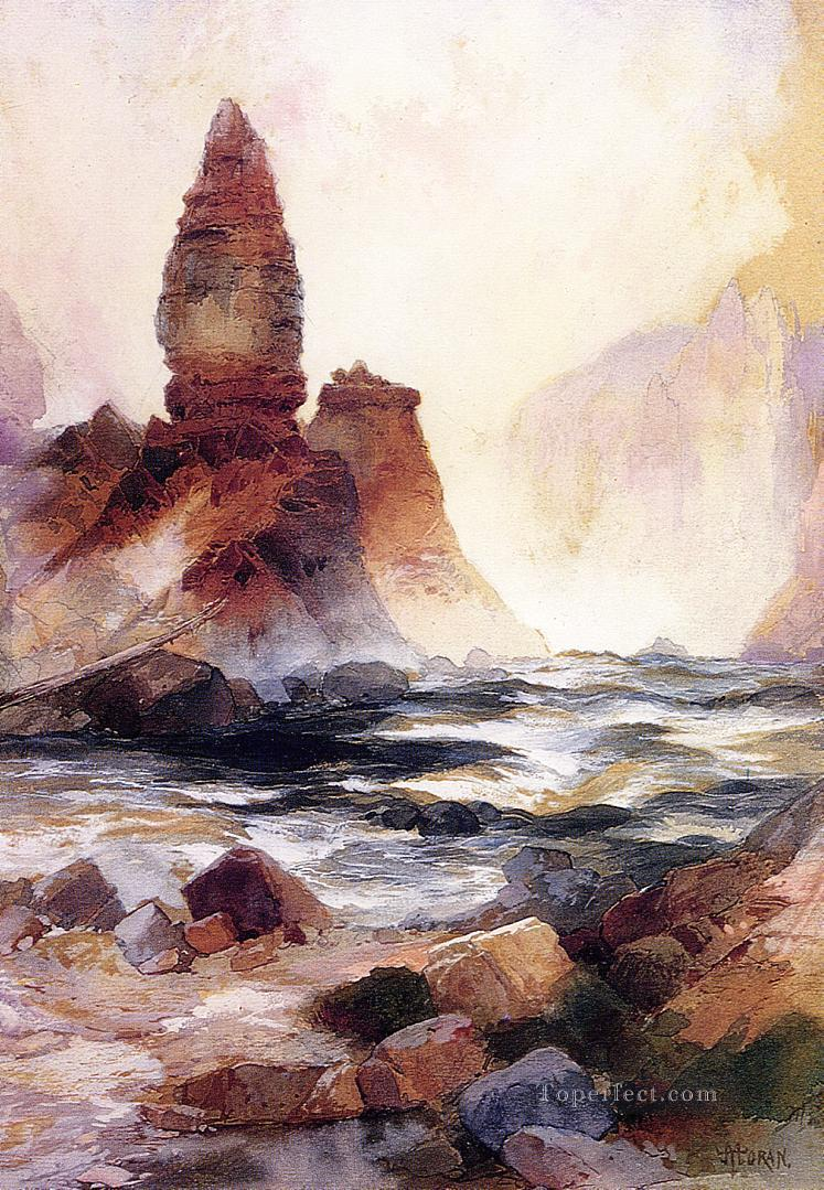 Tower Falls and Sulphur Rock Yellowstone landscape Thomas Moran Mountain Oil Paintings