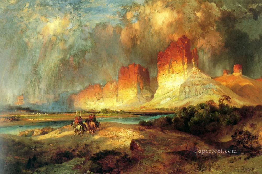 Cliffs of the Upper Colorado River landscape Thomas Moran Oil Paintings