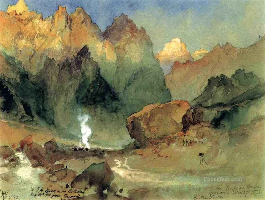 In the Lava Beds landscape Thomas Moran mountains Oil Paintings
