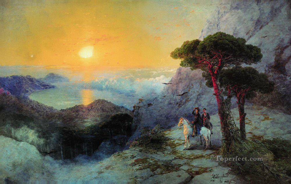 Ivan Aivazovsky pushkin at the top of the ai petri mountain at sunrise mountain Oil Paintings