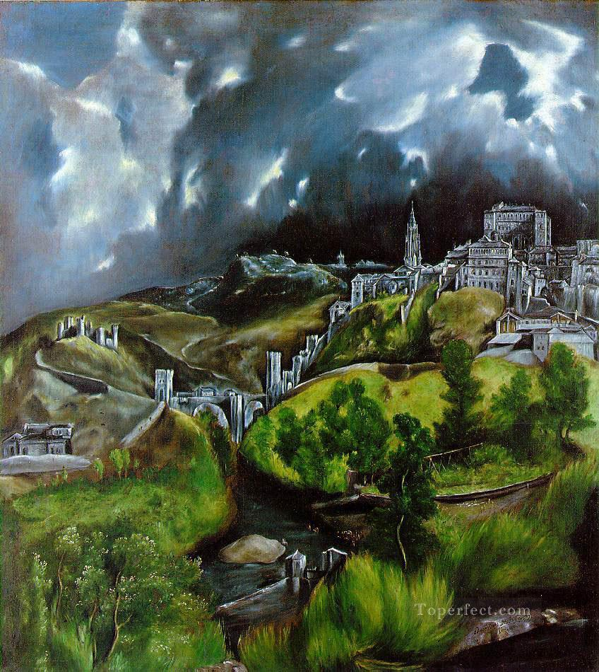 View of Toledo Mannerism Spanish Renaissance El Greco Mountain Oil Paintings