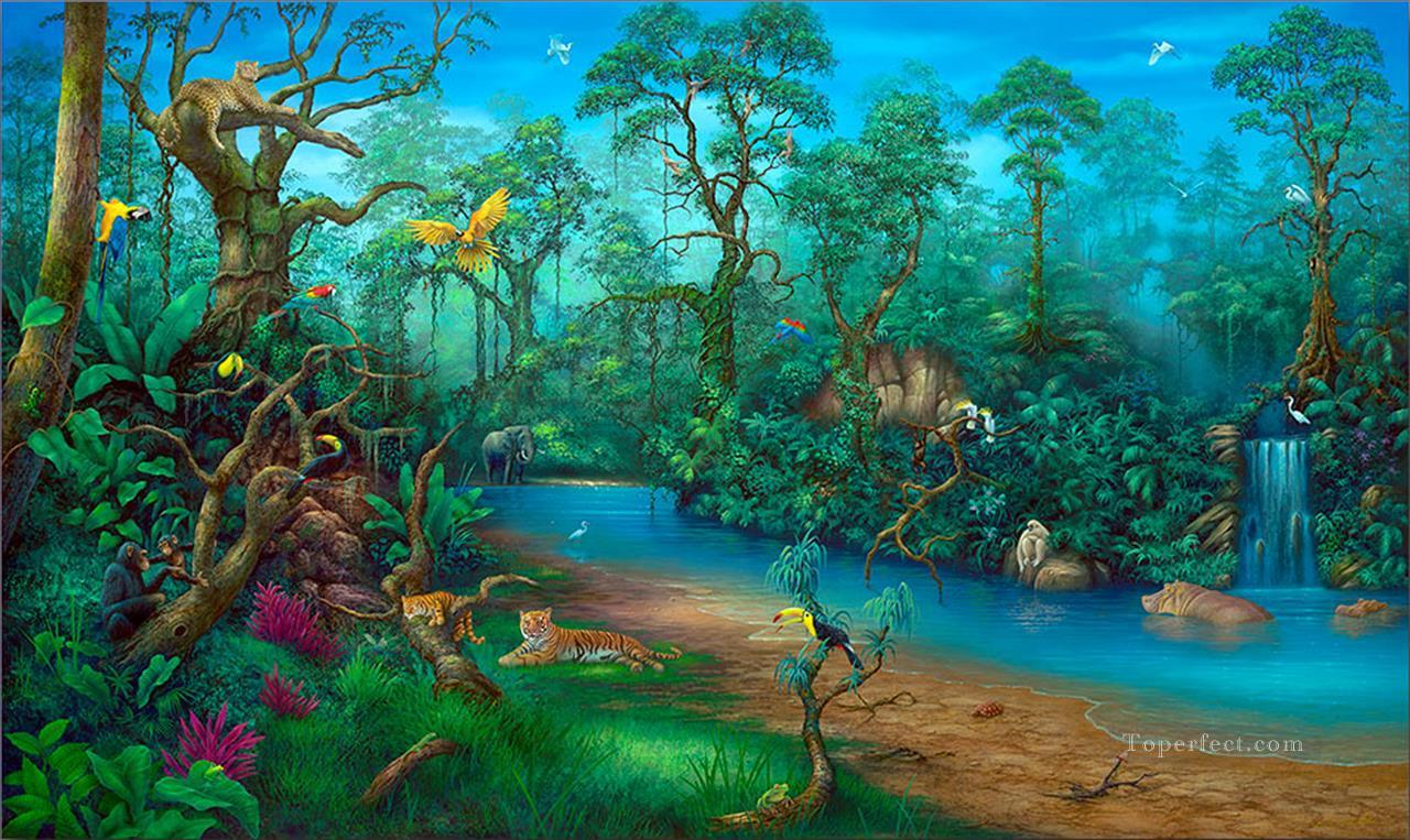 Rainforest Rainforest Mountains Painting In Oil For Sale