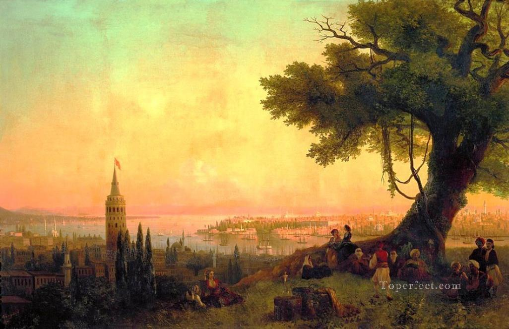 Ivan Aivazovsky view of constantinople by evening light mountain Oil Paintings