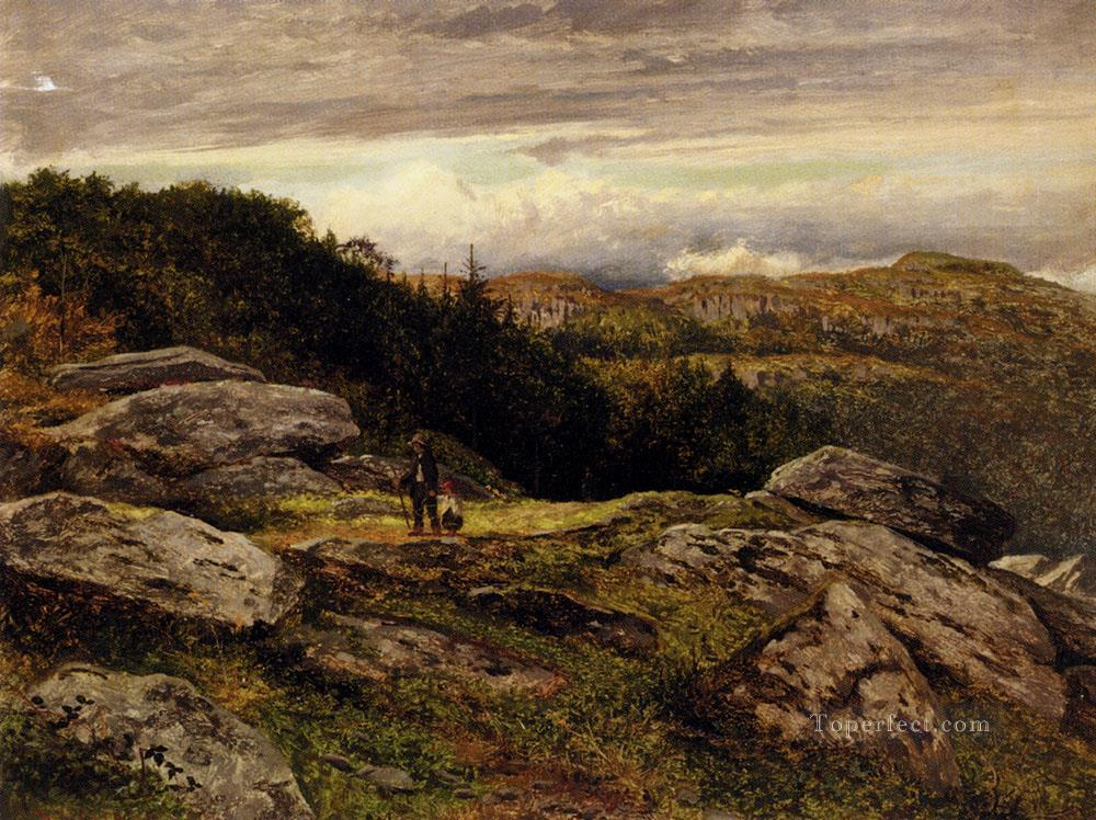 A Welsh Hillside Path landscape Benjamin Williams Leader Oil Paintings