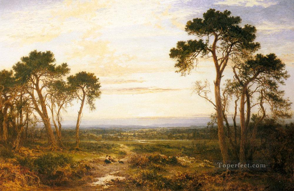 Across The Heath landscape Benjamin Williams Leader Oil Paintings