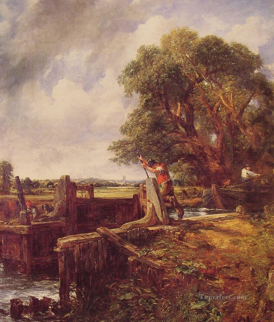 Boat Passing a Lock Romantic landscape John Constable Oil Paintings