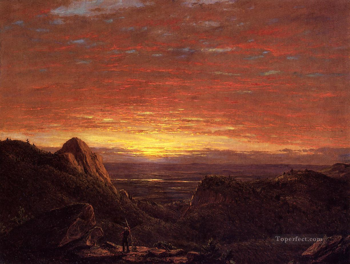 Morning Looking East over the Husdon Valley from Catskill Mountains scenery Hudson River Frederic Edwin Church scenery Oil Paintings