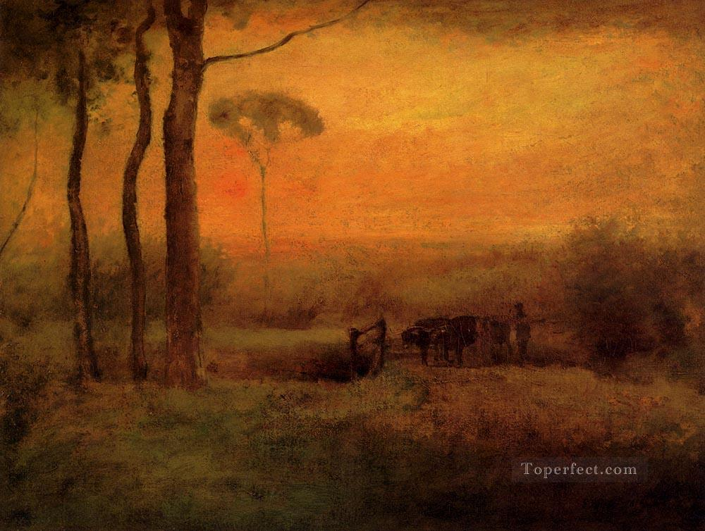 Pastoral Landscape At Sunset landscape Tonalist George Inness Oil Paintings