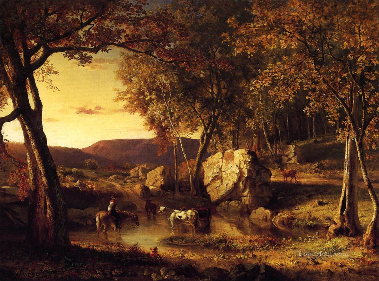 Summer Days Cattle Drinking Late Summer Early Autumn landscape Tonalist George Inness Oil Paintings