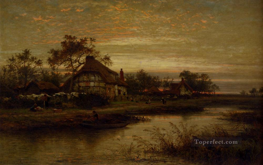 Worcestershire Cottage Homes Evening landscape Benjamin Williams Leader Oil Paintings