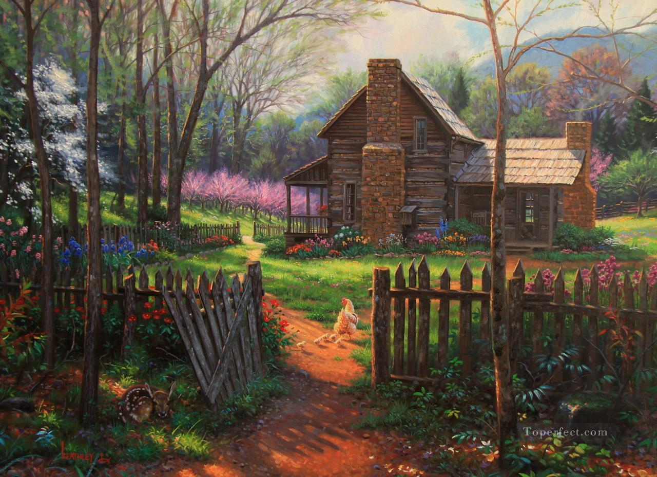 Small Cottages For Sale Welcome Spring Scenery Painting In Oil For Sale