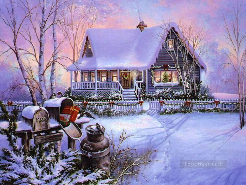 Snowing Christmas Scene.Christmas Scenes Snowing Painting In Oil For Sale