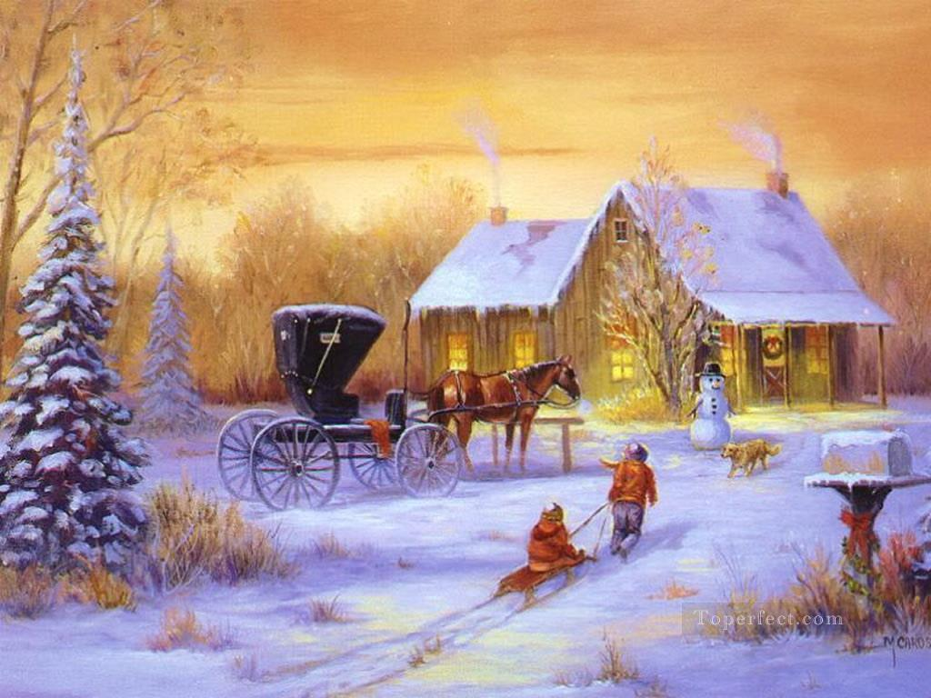 Christmas Carriage With Horse And Kids With Dog Snowing Painting In Oil For Sale