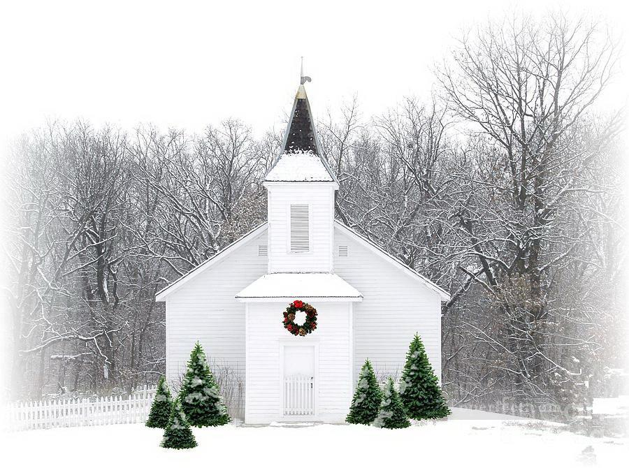 Country Christmas Church Snowing Oil Paintings