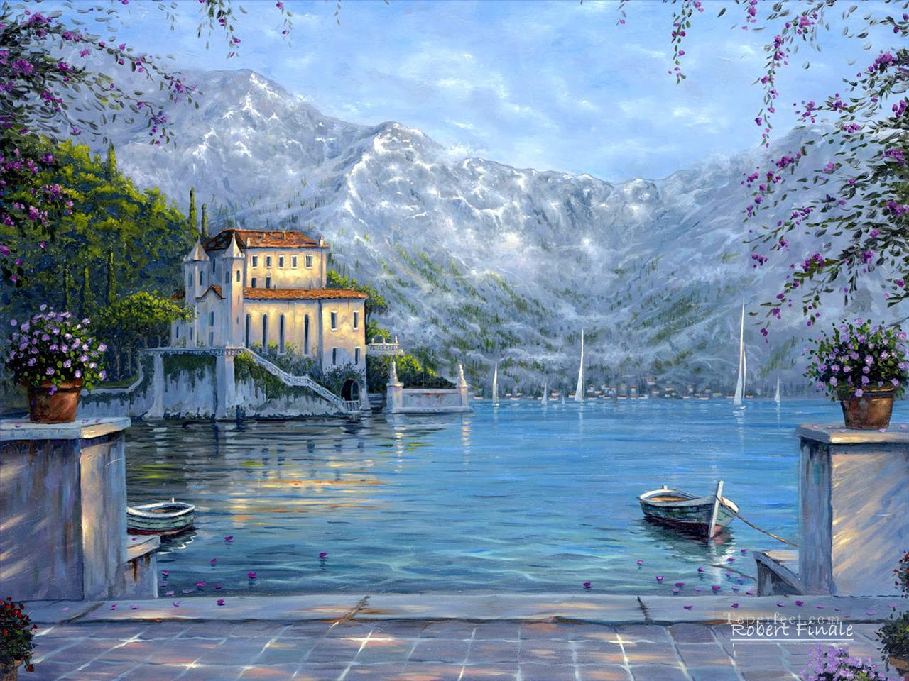 Lake Como Italy Robert Fin Winter Painting In Oil For Sale - Italy in the winter