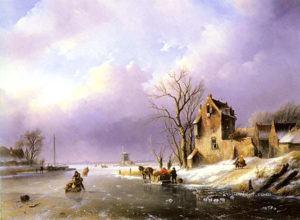 snow landscape With Figures On A Frozen River Jan Jacob Coenraad Spohler Oil Paintings