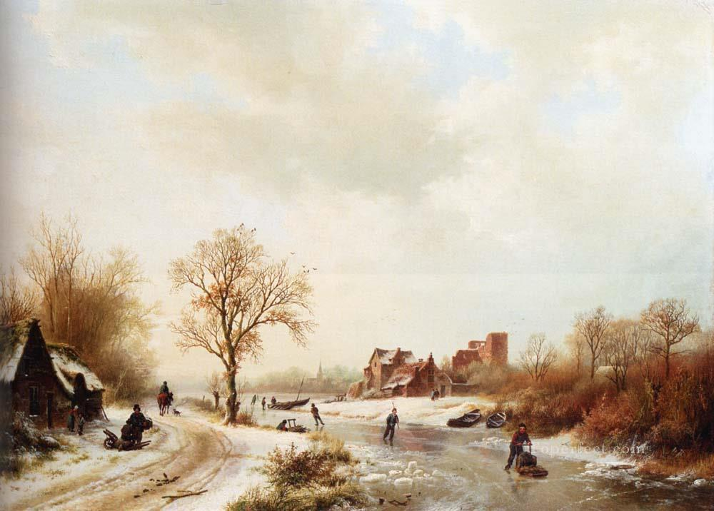 snow landschape Dutch Barend Cornelis Koekkoek Oil Paintings