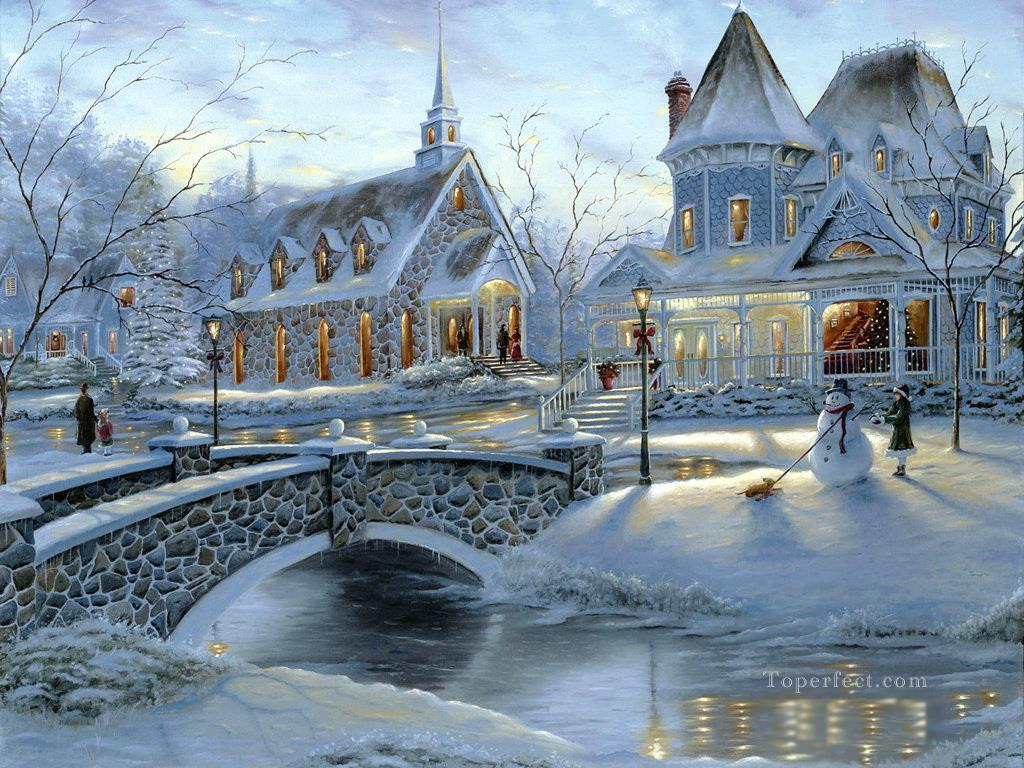 Home For Christmas Winter Painting In Oil Sale