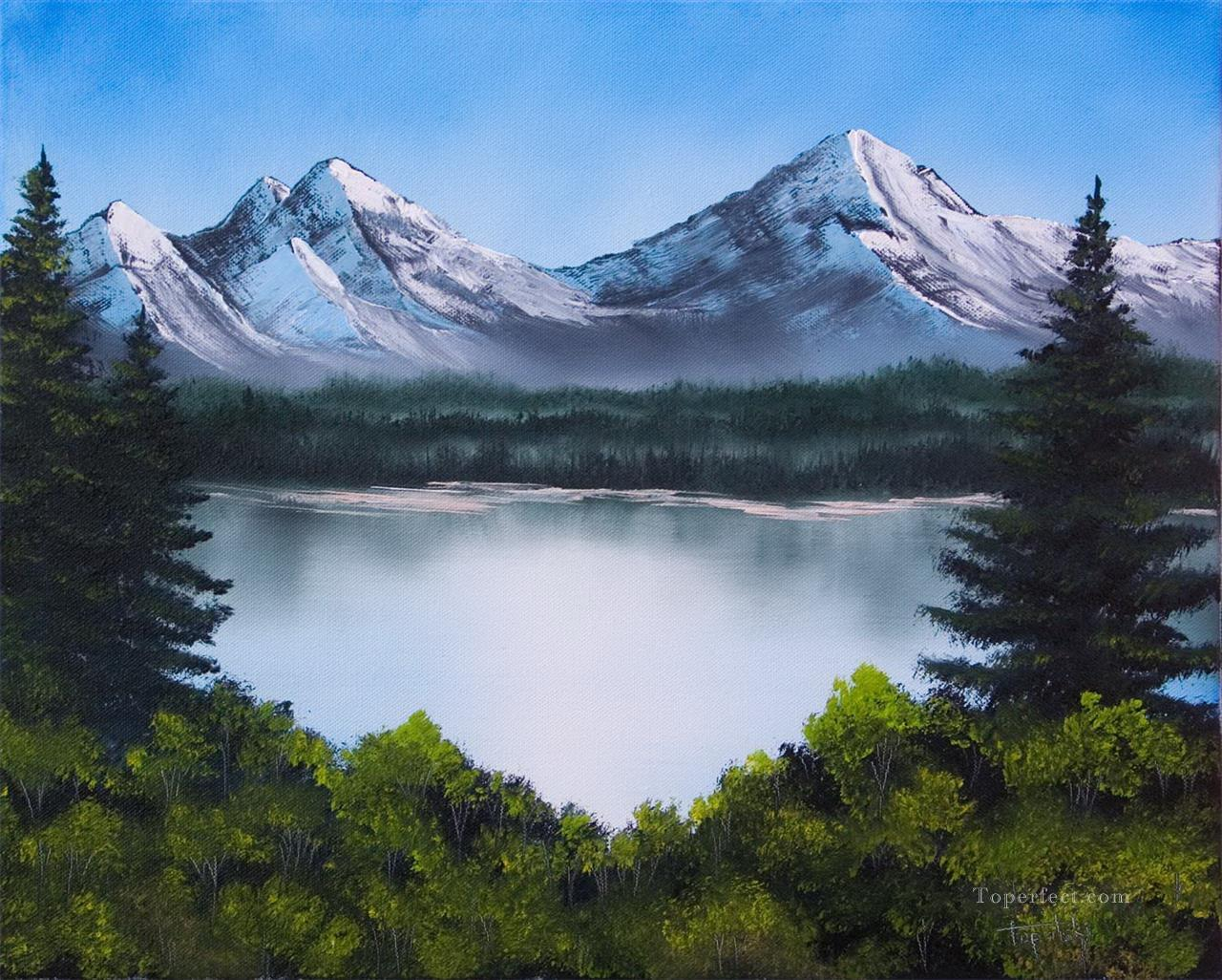 mountainscape Style of Bob Ross Oil Paintings