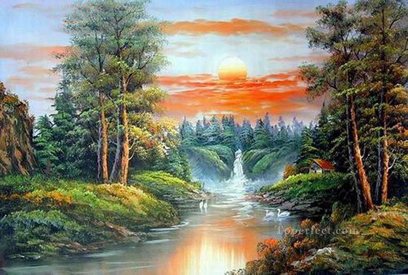 Vivid Freehand 18 Style Of Bob Ross Painting In Oil For Sale