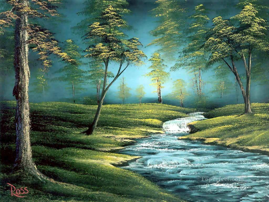 Bubbling Brook Style Of Bob Ross Painting In Oil For Sale