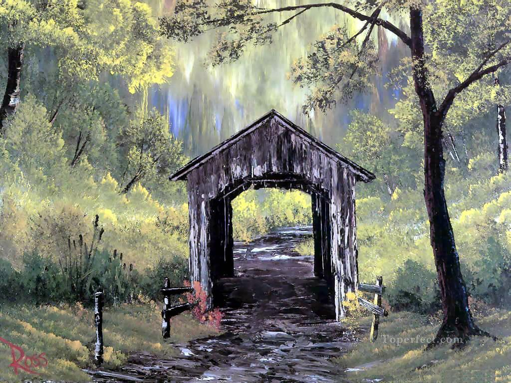 Covered Bridge Style Of Bob Ross Painting In Oil For Sale