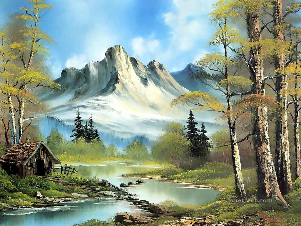 1104ce57aaa6a mountain cabin Style of Bob Ross Painting in Oil for Sale