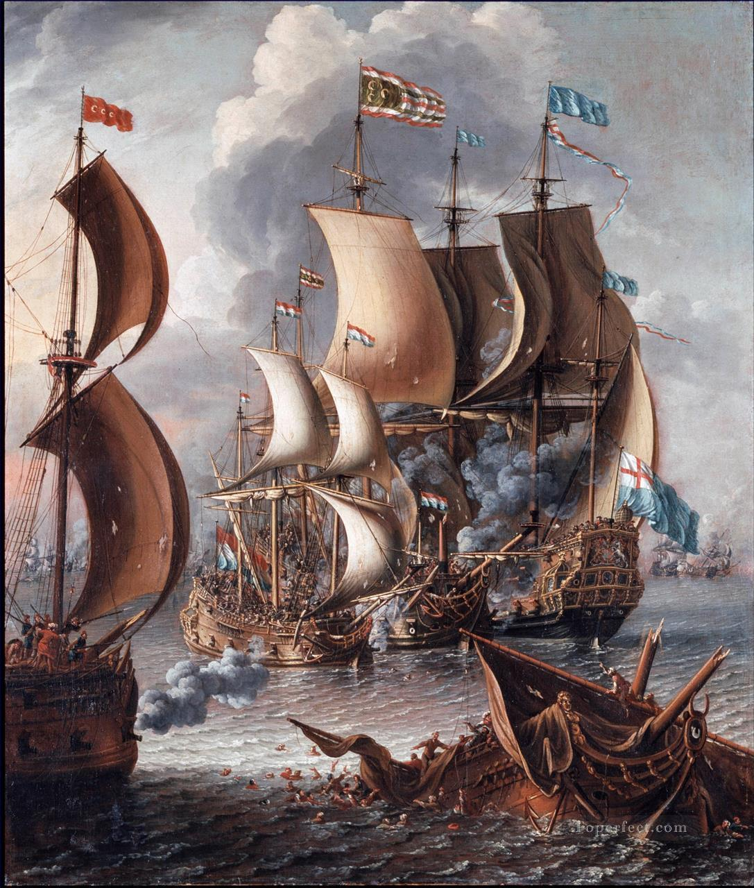 A Castro Lorenzo A Sea Fight with Barbary Corsairs Naval Battle Oil Paintings