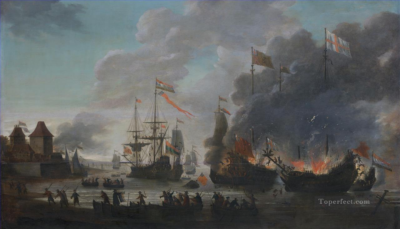 The Dutch burn English ships during the expedition to Chatham Raid on Medway 1667 Jan van Leyden 1669 Naval Battle Oil Paintings