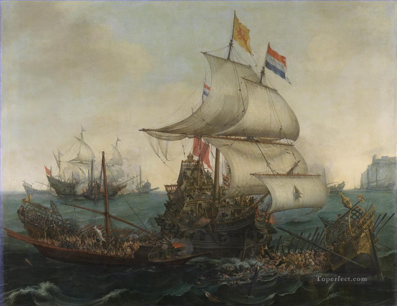 Vroom Hendrick Cornelisz Dutch Ships Ramming Spanish Galleys off the Flemish Coast in 1602 Naval Battle Oil Paintings