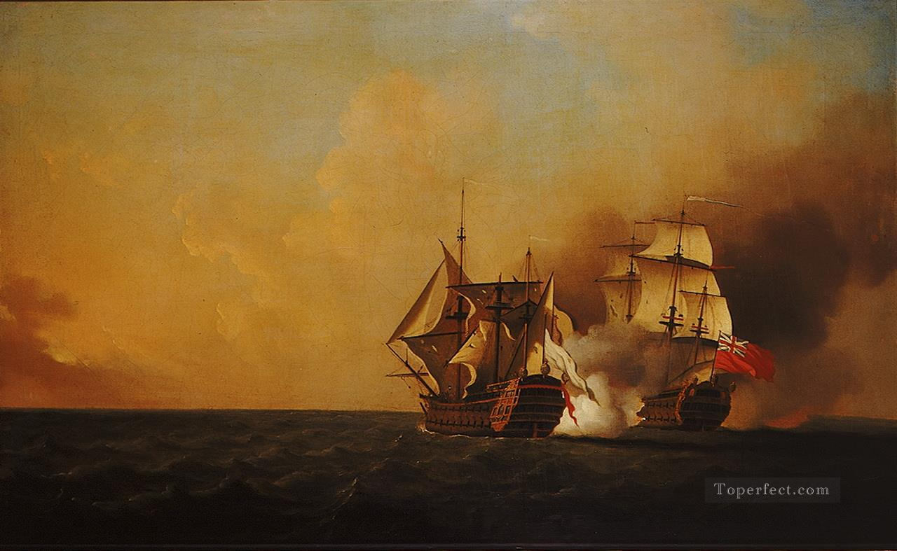Samuel Scott Action Between Nottingham And Mars 1746 Naval Battle Oil Paintings