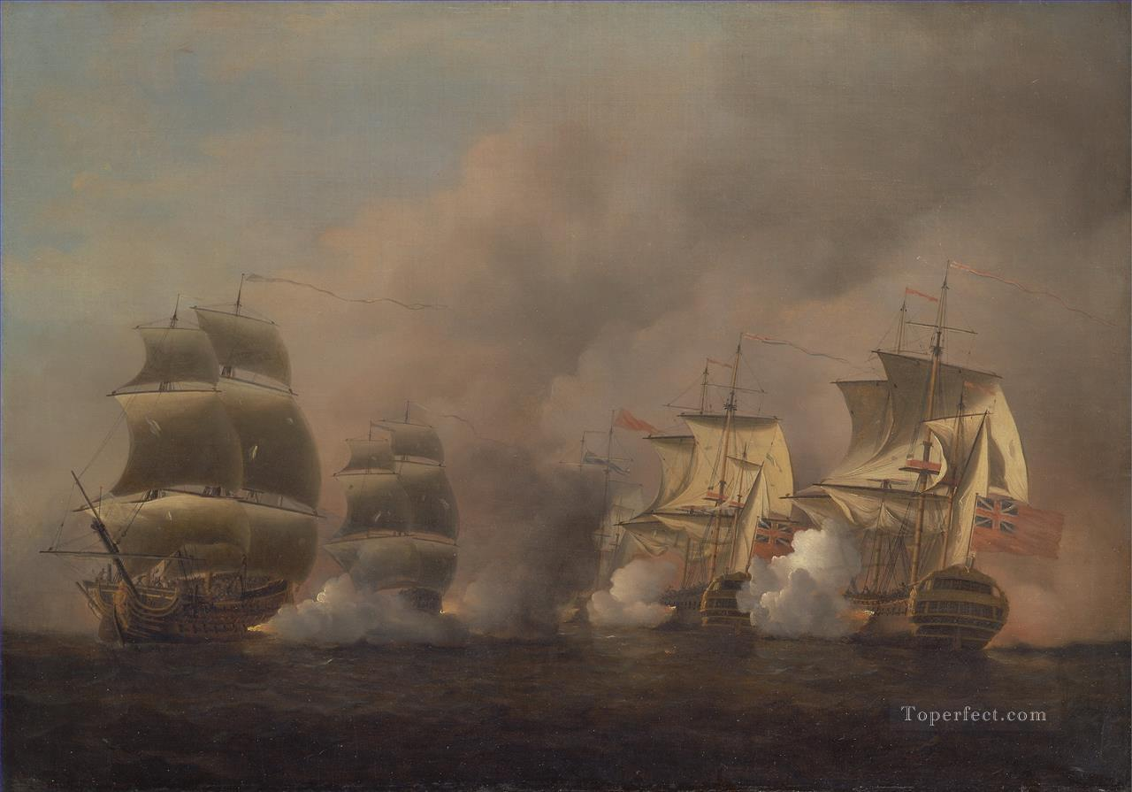 Samuel Scott Action off the Cape of Good Hope Naval Battle Oil Paintings