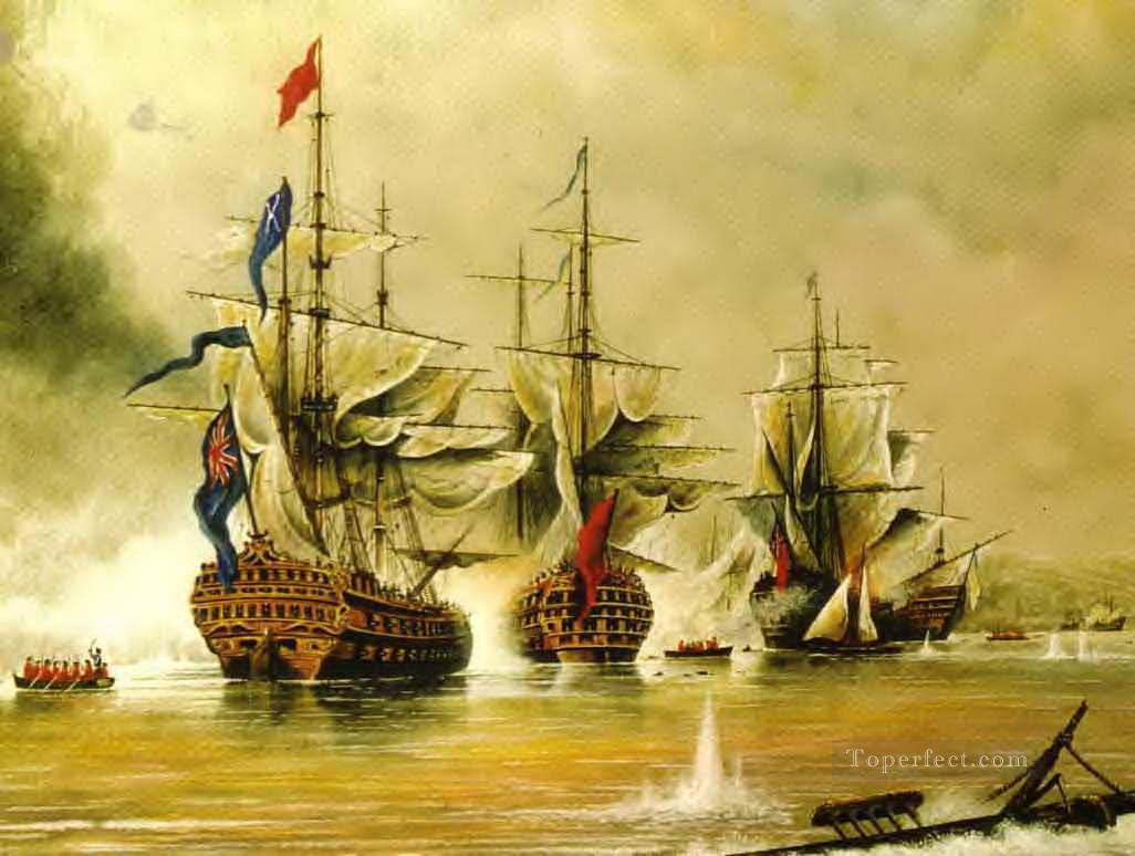 sea battle warships Oil Paintings