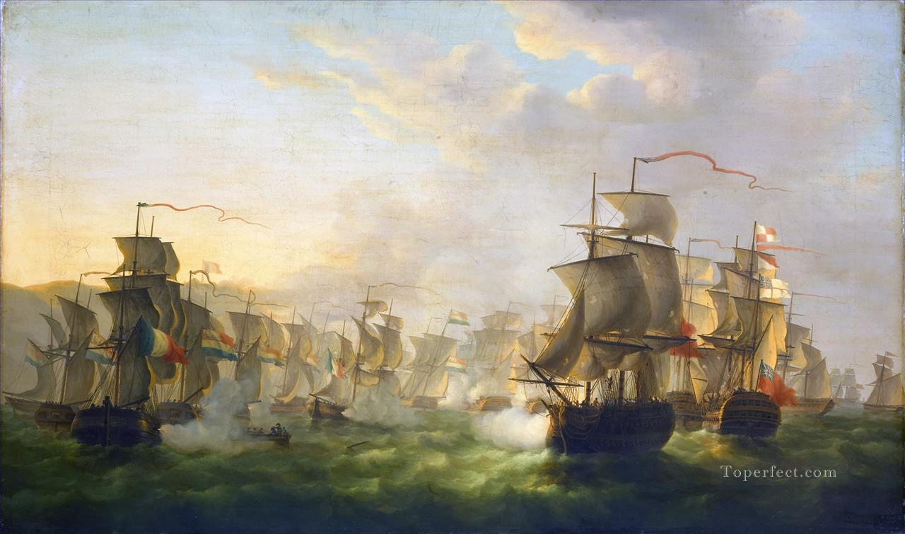 The Dutch and English fleets meet on the way to Boulogne Martinus Schouman 1806 Naval Battles Oil Paintings