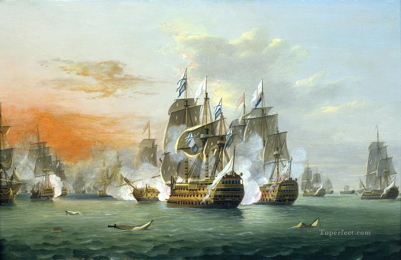 Thomas Luny The Battle of The Saints Naval Battles Oil Paintings