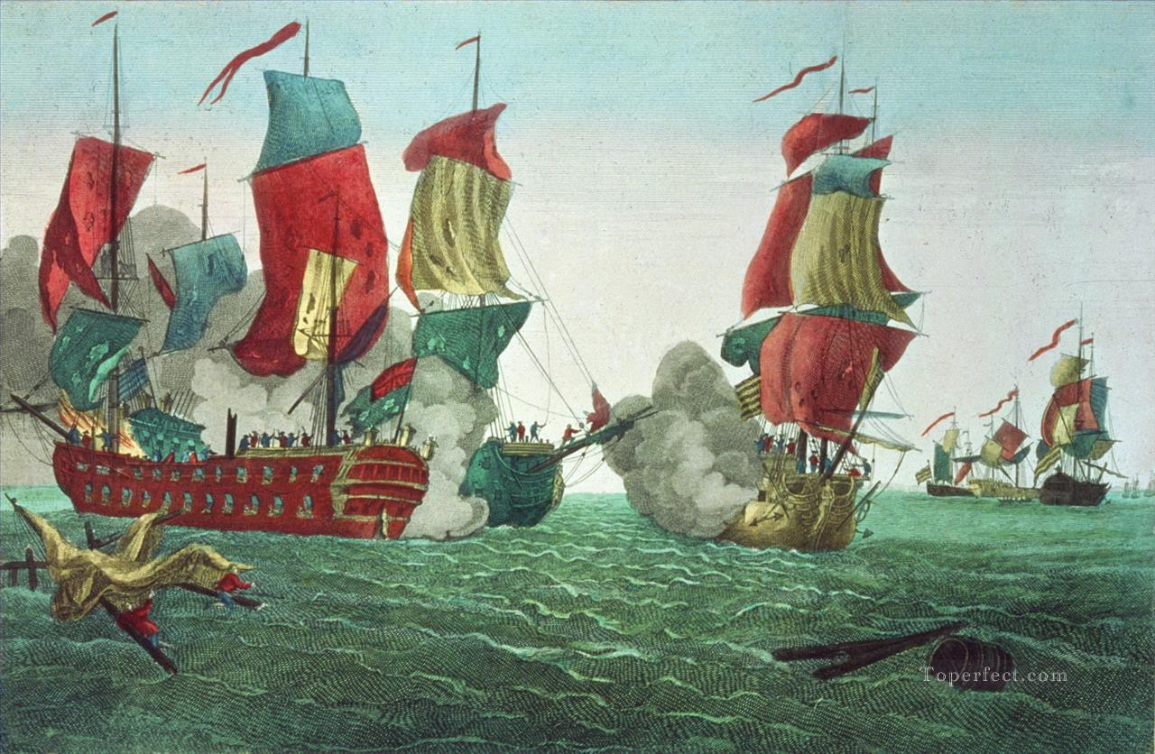 naval battle of war ships Oil Paintings