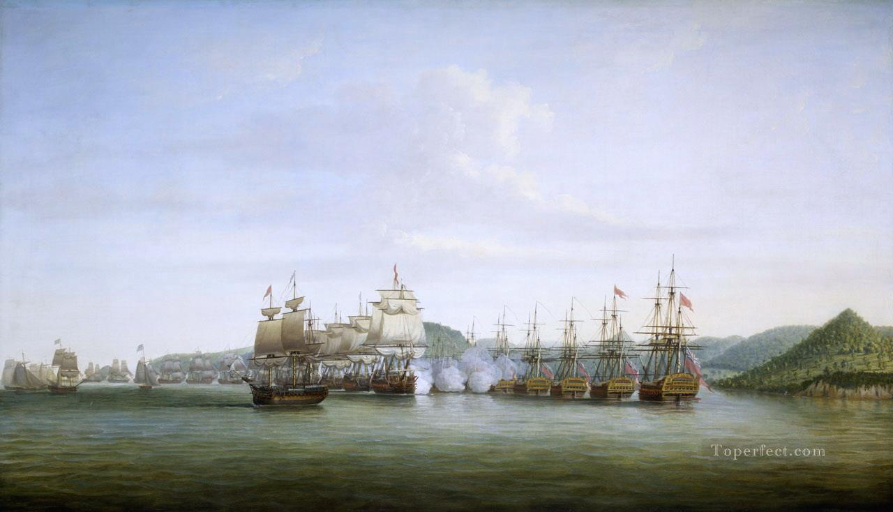 Bataille de Sainte Lucie entre d Estaing et Barrington 1778 Naval Battles Oil Paintings