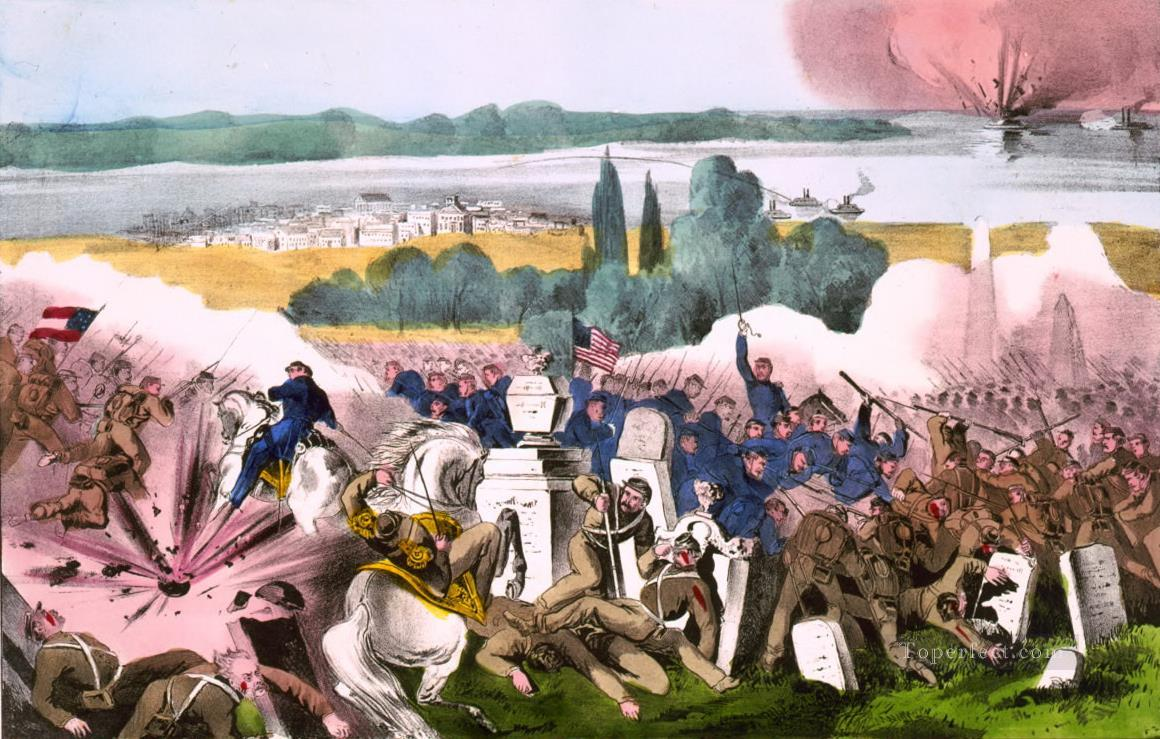 Currier Ives The Battle of Baton Rouge La Aug 4th 1862 Naval Battles Oil Paintings