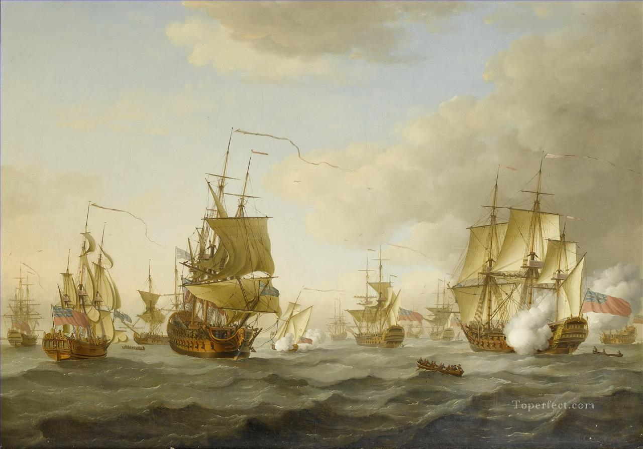 John Cleveley the Elder Admiral Byng s fleet getting underway from Spithead Sea Warfare Oil Paintings