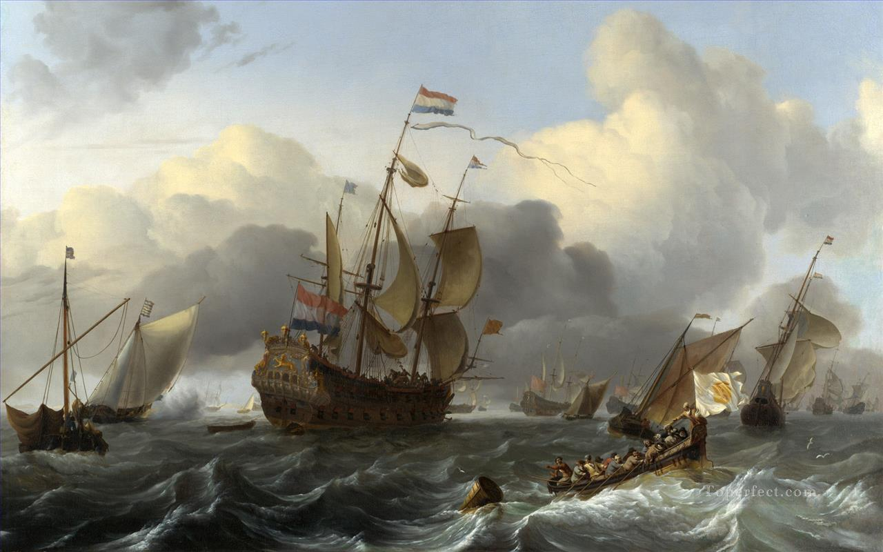 The Eendracht and a Dutch Fleet of Men of War before the Wind war ships Oil Paintings