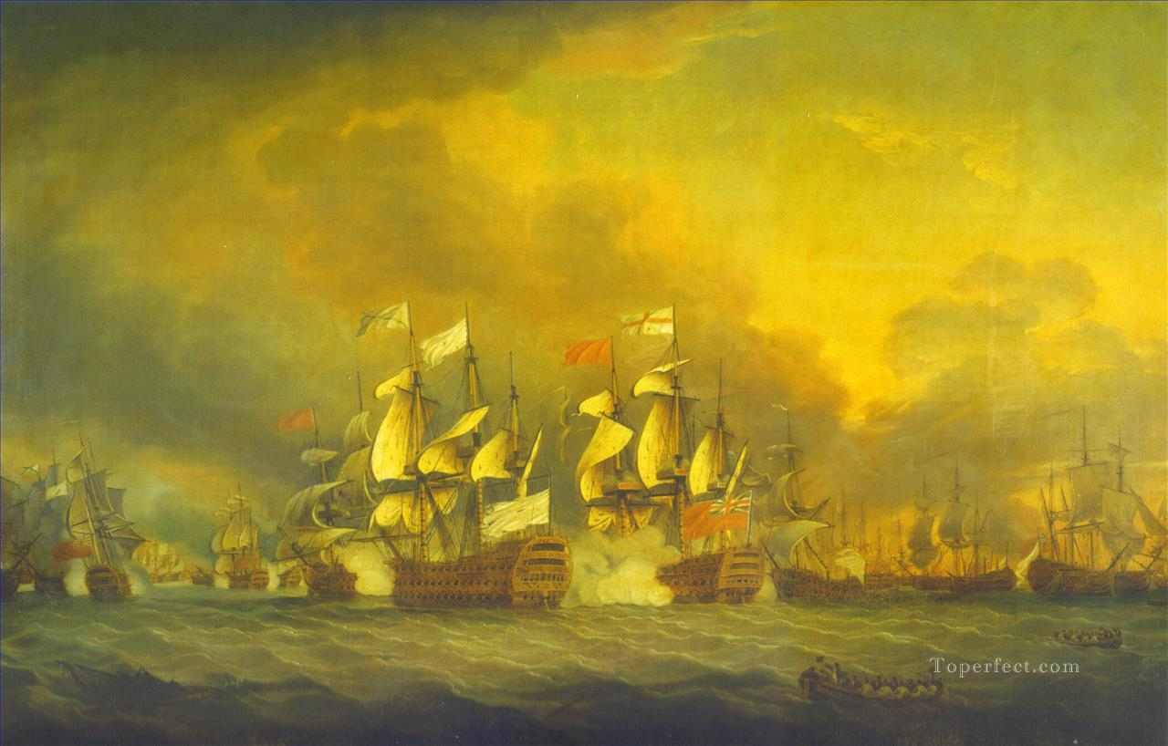 The battle of the saints 12 april 1782 Naval Battles Oil Paintings