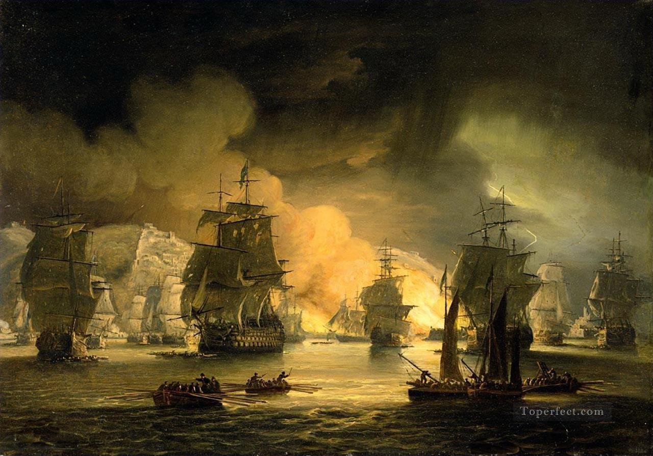 Thomas Luny The bombardement of Algiers Naval Battles Oil Paintings