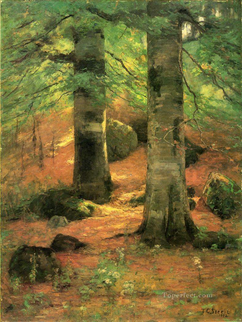 Vernon Beeches Impressionist Indiana landscapes Theodore Clement Steele woods forest Oil Paintings